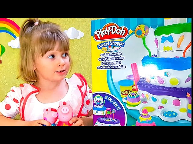 Razvivayushhee-video-dlya-detej-Igry-s-plastilinom-Svinka-Peppa-Play-Doh-Sweet-Shoppe-Cake-Mountain-3